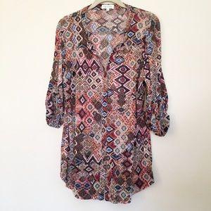 Aztec print mesh knit button up top XL